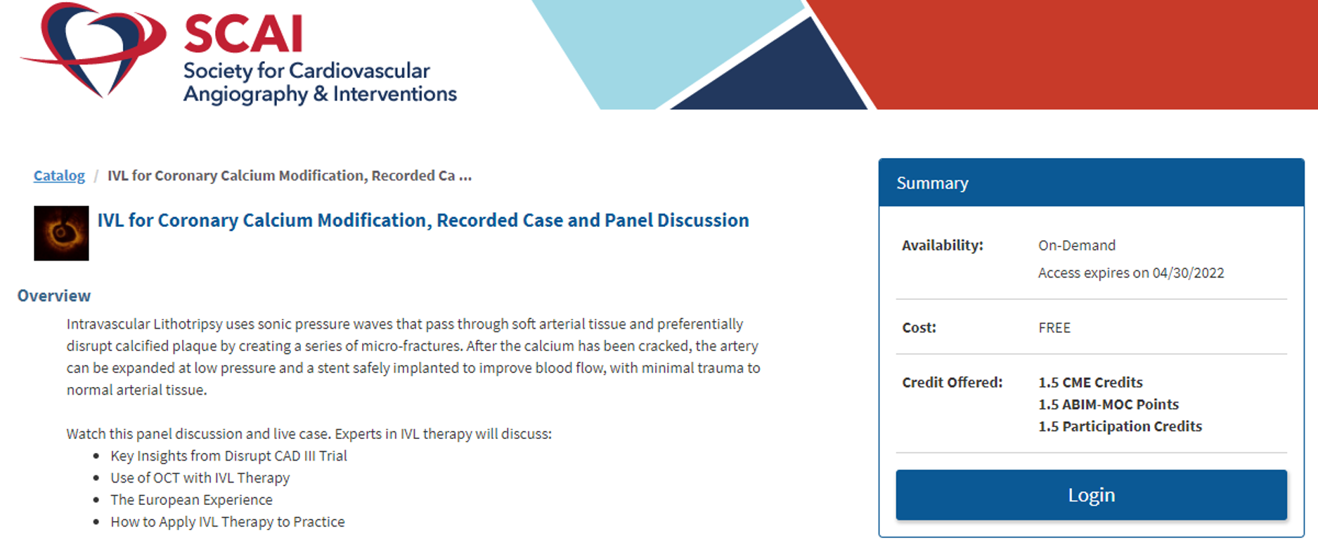 SCAI CME Page for Catalyst Post